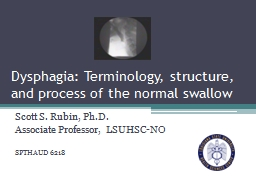 Dysphagia: Terminology, structure, and process of the normal swallow