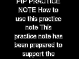 PIP practice note lans for trunk infrastructure PIP PRACTICE NOTE How to use this practice note This practice note has been prepared to support the prepar ation or amending of plans for trunk infrastr