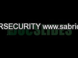 CYBERSECURITY www.sabric.co.za PowerPoint Presentation, PPT - DocSlides