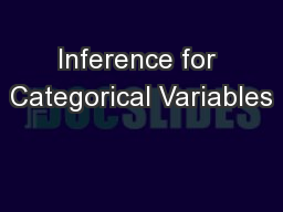 Inference for Categorical Variables