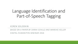 Language Identification and Part-of-Speech Tagging