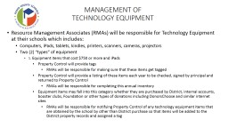 MANAGEMENT OF  TECHNOLOGY EQUIPMENT