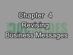 Chapter  4 Revising Business Messages