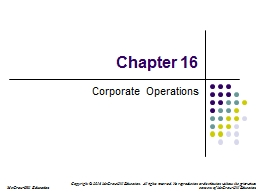 Chapter 16 Corporate Operations
