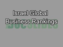 Israel Global Business Rankings