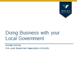 Doing Business with your  Local Government