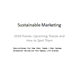 Sustainable Marketing 2016 Trends- Upcoming Trends and How to Spot Them PowerPoint PPT Presentation