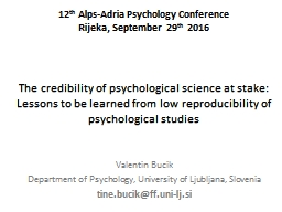 The credibility of psychological science at stake: