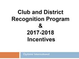 Optimist International Club and District Recognition Program