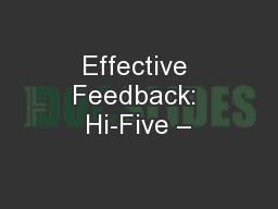 Effective Feedback: Hi-Five –