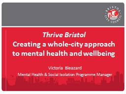 Thrive Bristol Creating a whole-city approach to mental health and wellbeing