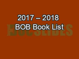 2017 – 2018 BOB Book List PowerPoint PPT Presentation