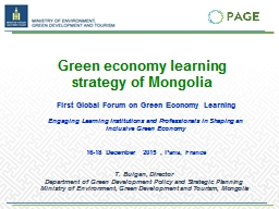 Green economy learning  strategy of Mongolia