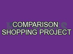 COMPARISON SHOPPING PROJECT
