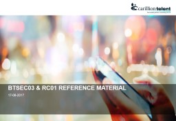 BTSEC03 & RC01 REFERENCE MATERIAL PowerPoint PPT Presentation