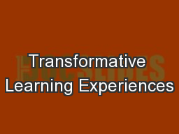 Transformative Learning Experiences