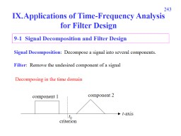 243 Applications of Time-Frequency Analysis