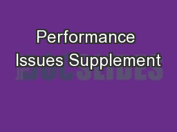 Performance Issues Supplement