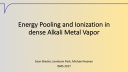 Energy Pooling and Ionization in dense Alkali Metal Vapor