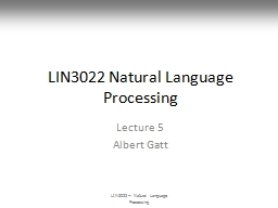 LIN3022 Natural  Language Processing