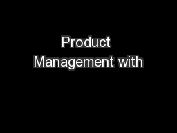 Product Management with