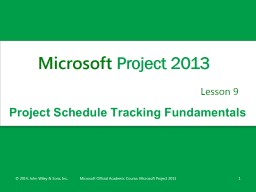 Project Schedule Tracking Fundamentals
