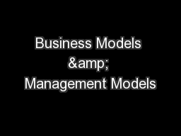 Business Models & Management Models