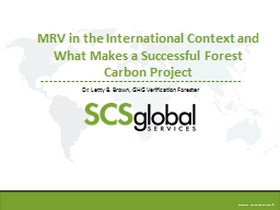 MRV in the International Context and What Makes a Successful Forest Carbon Project