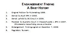 Endangerment Finding A Brief History