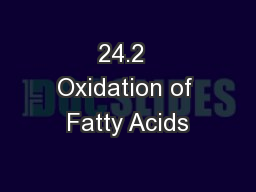 24.2  Oxidation of Fatty Acids