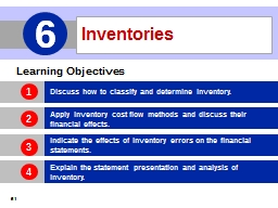 Inventories 6 Learning Objectives