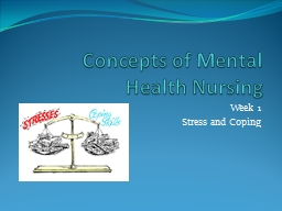 Concepts of Mental Health Nursing