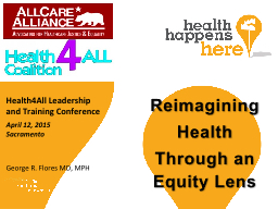 Reimagining  Health Through an Equity Lens