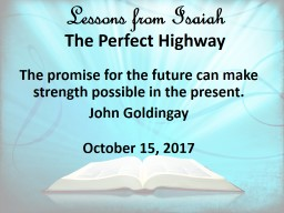Lessons from Isaiah   The Perfect Highway