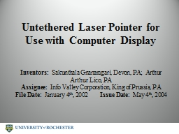Untethered Laser Pointer for Use with Computer Display