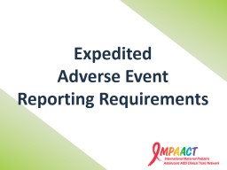 Expedited  Adverse Event PowerPoint PPT Presentation
