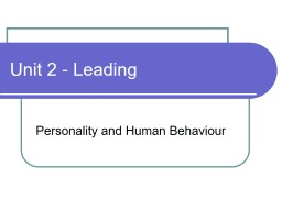 Unit 2 - Leading Personality and Human Behaviour