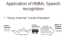 Application of HMMs: Speech recognition