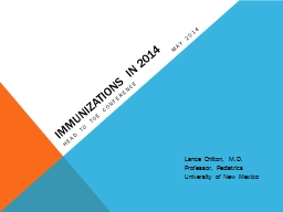 IMMUNIZATIONS IN 2014  Head to toe conferencemay 2014