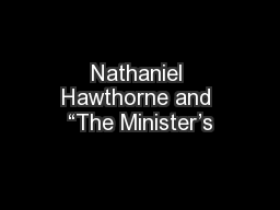 """Nathaniel Hawthorne and """"The Minister's"""