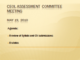 CEOL Assessment Committee Meeting