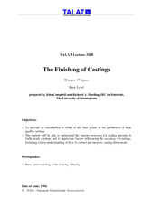 TALAT Lecture  The Finishing of Castings  pages  figur
