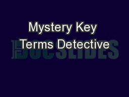 Mystery Key Terms Detective