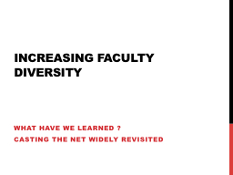 Increasing Faculty Diversity PowerPoint PPT Presentation
