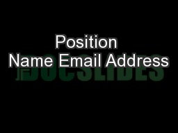 Position Name Email Address