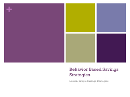 Behavior Based Savings Strategies PowerPoint PPT Presentation