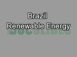 Brazil Renewable Energy