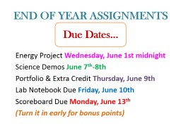 END OF YEAR ASSIGNMENTS Energy Project