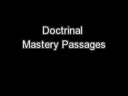 Doctrinal Mastery Passages