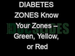 DIABETES ZONES Know Your Zones – Green, Yellow, or Red